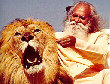 Swami Satchidananda with Lion